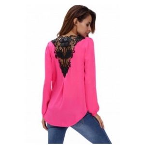Tops - 💖CUTE!💖 Rosy Crochet Back Front-Wrap Tunic!